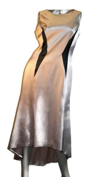 Women's Silk High-Low Geometric Dress Beige Sleeveless Front