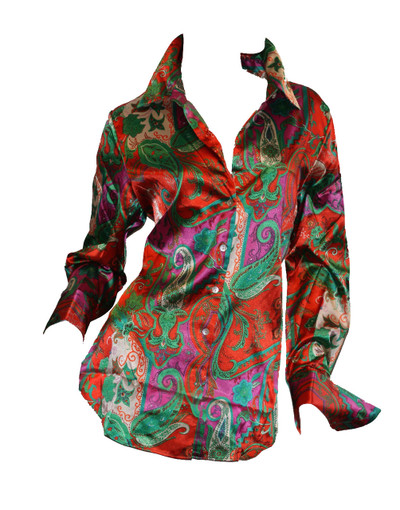 women's paisley french cuff blouse_Front