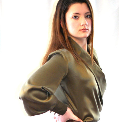 100% Silk Charmeuse Bishop Sleeve Surplice Wrap Blouse B2-LSBC