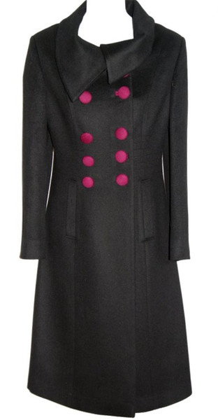 Black Cashmere Merino Wool Coat Calf Length