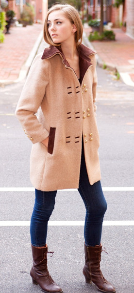 Peruvian Alpaca and Suede Pea Coat