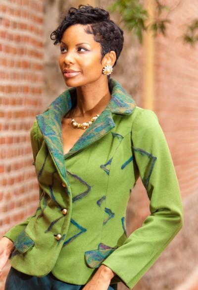 Women's Cashmere Set-In Sleeve Blazer Jacket with Merino Wool Contrast