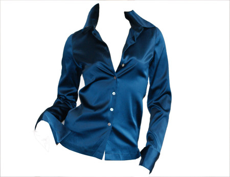 Ladies Elegant Stretch Silk Charmeuse Fitted Button Shirt Blouse Deep Blue