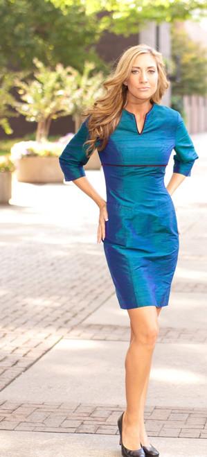 Textured Silk 3/4 Sleeve Sheath Dress