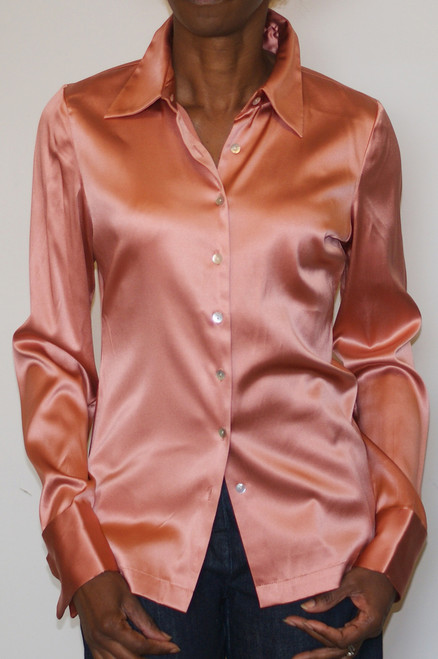 Salmon Silk Blouse  Model Height: 5ft 4in (165cm) Size US Small (2 - 4)
