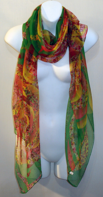 Large 100% Silk Chiffon Scarf - Resort - Pink & Green Floral Print  - SOLD OUT