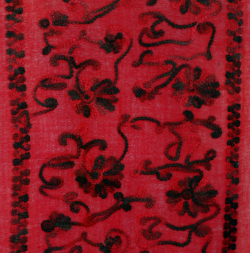 Women's Large Red Winter Wool Shawl Scarf - Black Multi Felted Wool Embroidery Trim