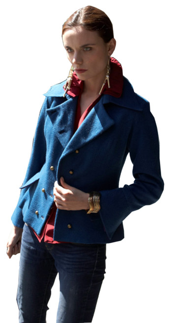 Cadet Blue Double-Breasted Military Jacket w' Peplum for Ladies