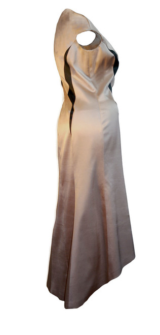 Women's Silk High-Low Geometric Dress Beige Sleeveless Back-Side
