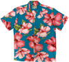 Hibiscus Blossom Teal - 100% Rayon