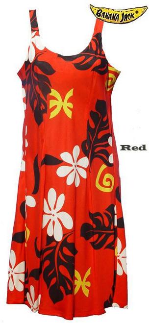 Red Tahiti Spaghetti Strap Hawaiian Dress