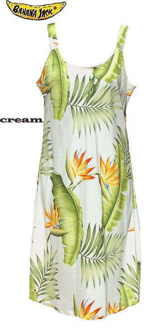 Orange Bird of Paradise Spaghetti Hawaiian Dress