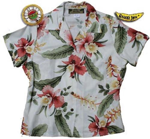 Hana Heliconia Womens Fitted Hawaiian Shirt
