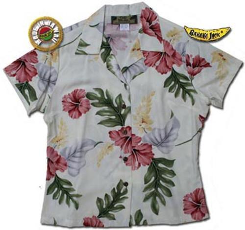 Honolulu Hibiscus Womens Fitted Hawaiian Shirt