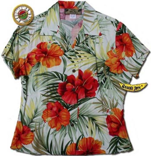 Kona Red Womens Fitted Hawaiian Shirt