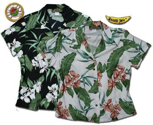 Orchid Palm Womens Fitted Hawaiian Shirts