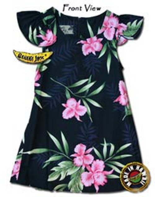 Girls Manoa Valley Tie Back Hawaiian Dress
