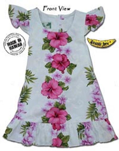 Girls Pink Hawaiian Lei Tie Back Dress
