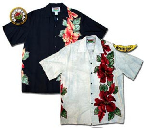 Maui Hibiscus Panel - Men's 100% Rayon Hawaiian Shirt - On Sale!