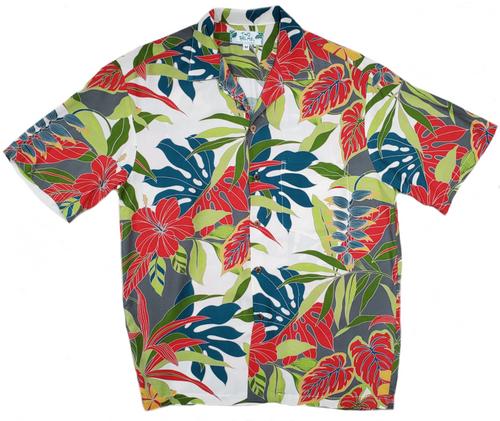 Hawaiian Forest - Cream 100% Rayon Aloha Shirt