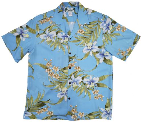Pali Orchid - Blue - 100% Rayon Hawaiian Shirt