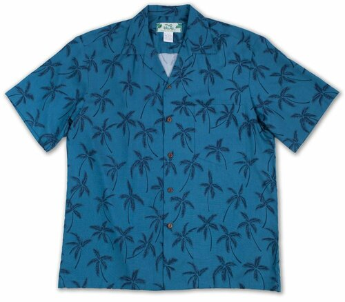 Midnight Palms - Blue - Men's 100% Rayon Aloha Shirt