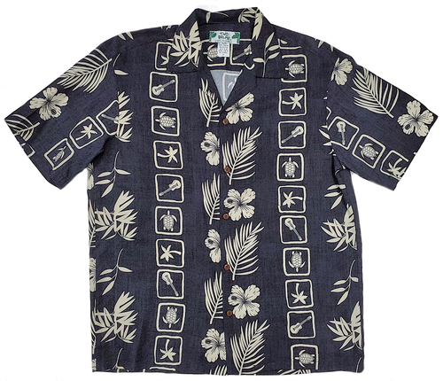 Molokai - Black - 100% Rayon Men's Hawaiian Shirt