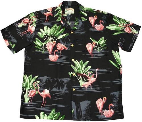 Flamingo  Black - Men's 100% Rayon Hawaiian Shirt