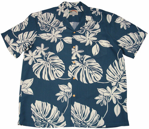 Tiare Blue -  Men's 100% Rayon Hawaiian Shirt