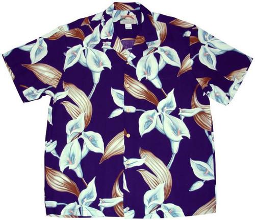 Calla Lilly Purple  - Magnum PI Shirt - 100% Rayon