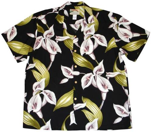 Calla Lilly Black  - Magnum PI Shirt - 100% Rayon