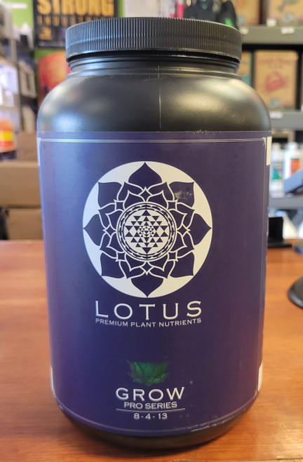 Lotus Premium Nutrients Grow formula 8-4-13 is comprised of 15 unique, raw components including 13 essential macro and micro elements.