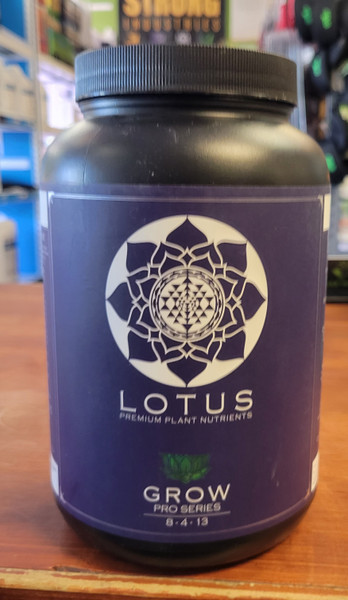 Lotus Premium Grow formula 8-4-13  is comprised of 15 unique, raw components including 13 essential macro and micro elements.