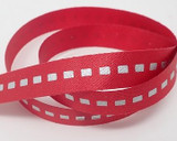 #P002 Silver Dotted Line Satin Red 25yds