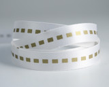 #P002 Gold Dotted Line on DF White Satin
