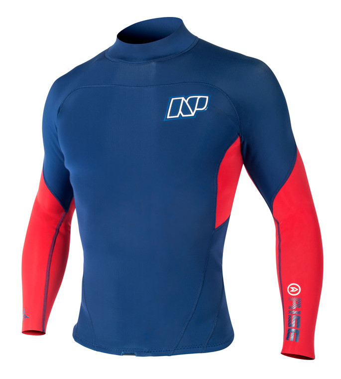 NP Rise Neo Top 2mm Neoprene Long Sleeve Shirt Red/Blue 50% off