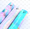 20x33cm (A4), Transparent Leather Fabric, Tiedye Synthetic Leather, Waterproof Leather Fabric, Rainbow Fabric Sheet, Ombre PVC for Pool Bows, Jelly Fabric Sheets, DIY Hair Bows, 1 Sheet