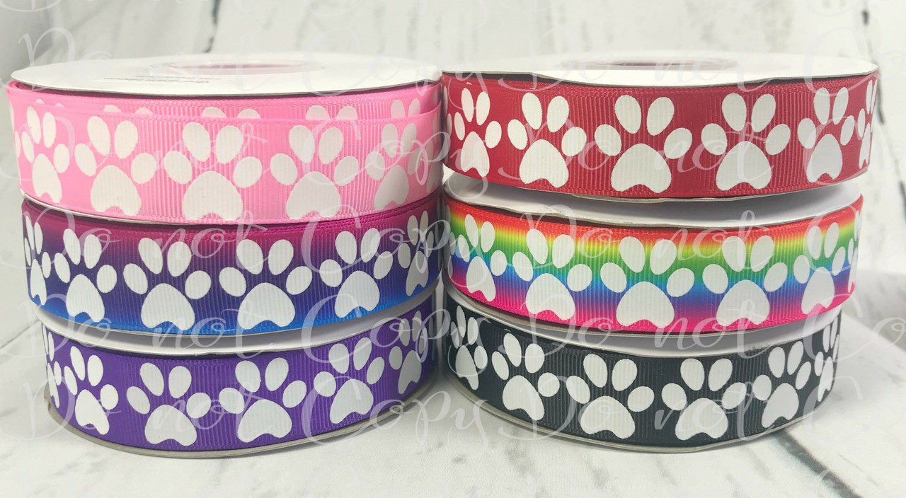Puppy Paw Print Pattern Ribbon 7//8-Inch 5-Yard