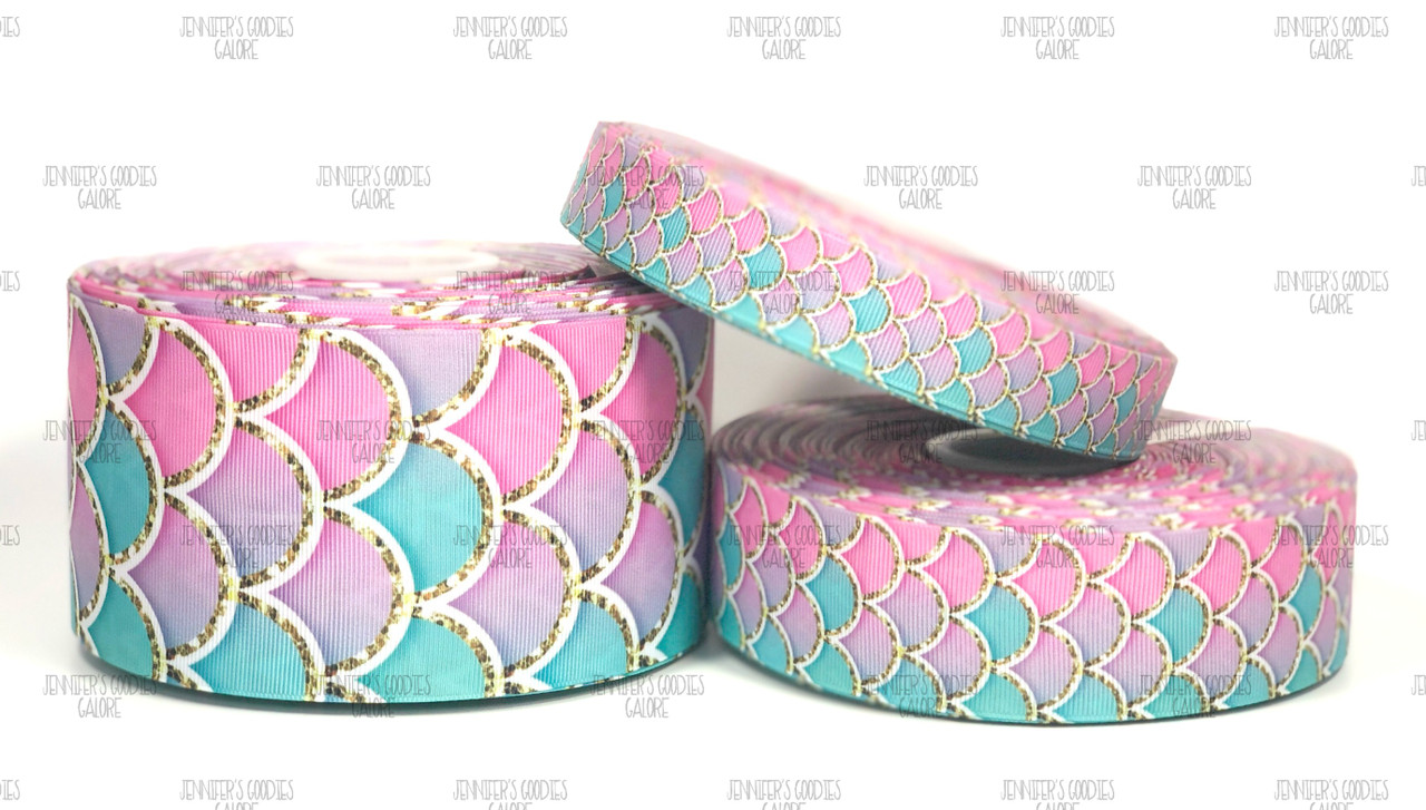 3 inch Grosgrain Ribbon HAIR BOW SUPPLY WHOLESALE Mermaid scales ombre