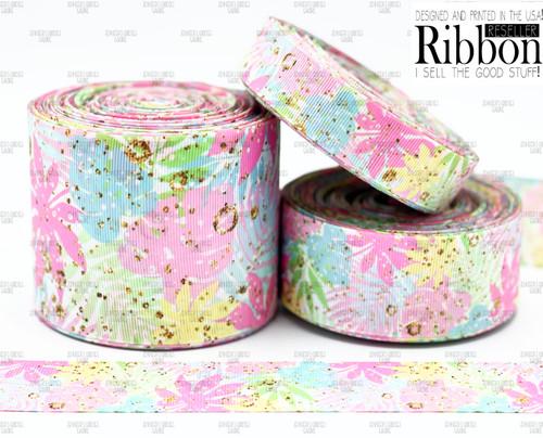Tropical Ribbon, US Designer Ribbon, Double Sided, Floral Ribbon, Leaf Ribbon, Tropical Floral Ribbon, Lanyard Ribbon, Hair Bow Ribbon, Wholesale Ribbon, PER YARD