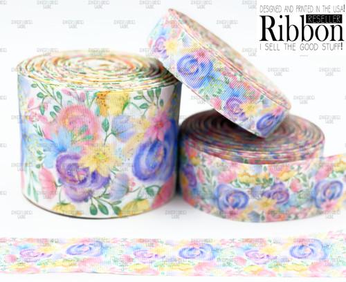 Spring Floral Ribbon, US Designer Ribbon, Double Sided, Pink Floral Ribbon, Purple Roses, Lanyard Ribbon, Hair Bow Ribbon, Wholesale Ribbon, PER YARD
