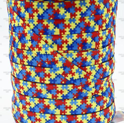 Elastic for Hair Ties 58 FOE Puzzle Piece Printed Elastic DIY Hair Tie FOE Red Blue Yellow Autism Awareness Print Fold Over Elastic