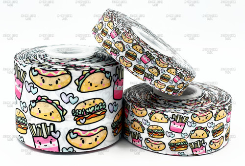 Fast Food Ribbon, US Designer Ribbon, Hot Dogs, Fries, Tacos, Cheeseburgers, Food Ribbon, Lanyard Ribbon, Hair Bow Ribbon, Wholesale Ribbon, PER YARD