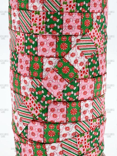 "5/8"", Christmas FOE, Fold Over Elastic, Peppermint Candy Elastic, Candy Cane FOE, Elastic by the Yard, DIY Hair Ties, DIY Headband, Elastic Hair Ties, 3 YARDS (0075)"