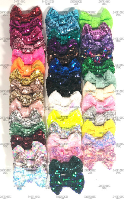 """3"""", Sequin Bows, Bow Applique, NO CLIPS, Bow, Sequin Bow Headband, Large Bows, Bows, Wholesale, Big Bow, Sequin Bow (#6)"""