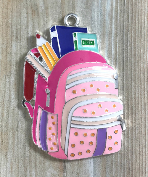 48*33, Pink Back Pack Enamel Pendant, Back to School Pendant, Wholesale Pendants, DIY Necklace (619)