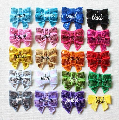 """1.5"""" Sequin Bow Applique, Sequin Bow, Flat Back, Wholesale Bows, DIY Appliques(#87)"""