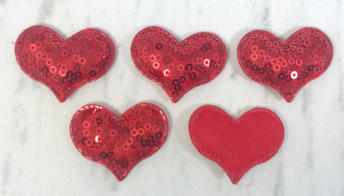 40*30mm, Sequin Felts, Padded Sequin Felts, Heart Felts, Pink Heart Appliques, Red Heart Felts, Hot Pink Hearts, Valentine Felts, Wholesale Felts, 5PCS