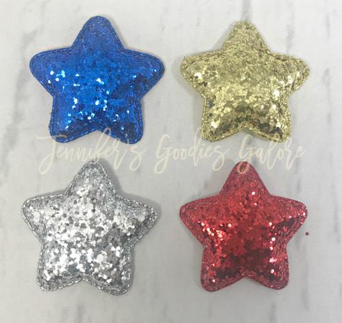 "2"", Glitter Stars, Felt Stars, Patriotic Star Felt, Felt Appliques, Padded Felt Stars, July 4th Felts, Wholesale Felts"