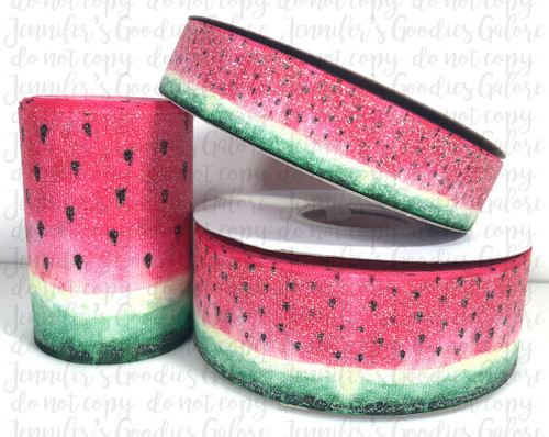 "7/8"", Watermelon Ribbon, US Designer Ribbon, Glitter Ribbon, Fruit Ribbon, Summer Ribbon, Hair Bow Ribbon, Wholesale Ribbon, PER YARD"